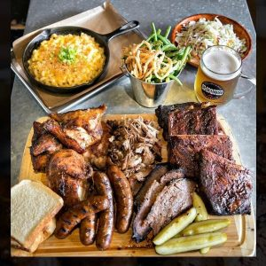 Platter of Various Meats from Smoqued California BBQ